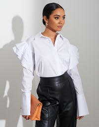 White Ruffle Sleeve Shirt