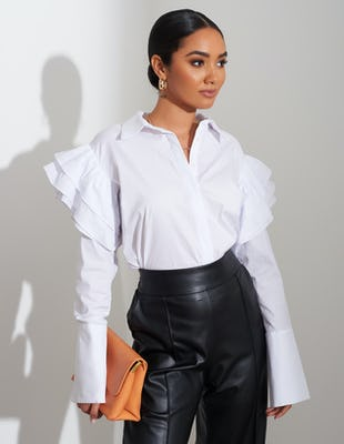 White Ruffle Sleeve Shirt