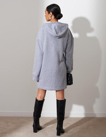 Grey Long Length Zip Up Hoodie