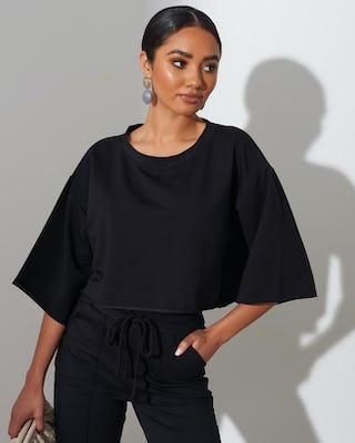 Black Crop Flute Sleeve Sweatshirt