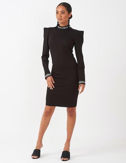 Black Structured Shoulder Mini Dress