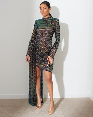 Multi Sequin Asymmetric Dress
