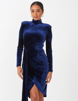 Navy Velvet Drape Mini Dress