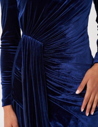 Navy Velvet Drape Mini Dress