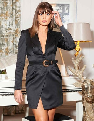 Black Satin Corset Blazer Dress