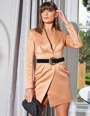 Camel Satin Corset Blazer Dress