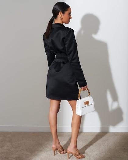 Black Satin Corset Blazer Dress