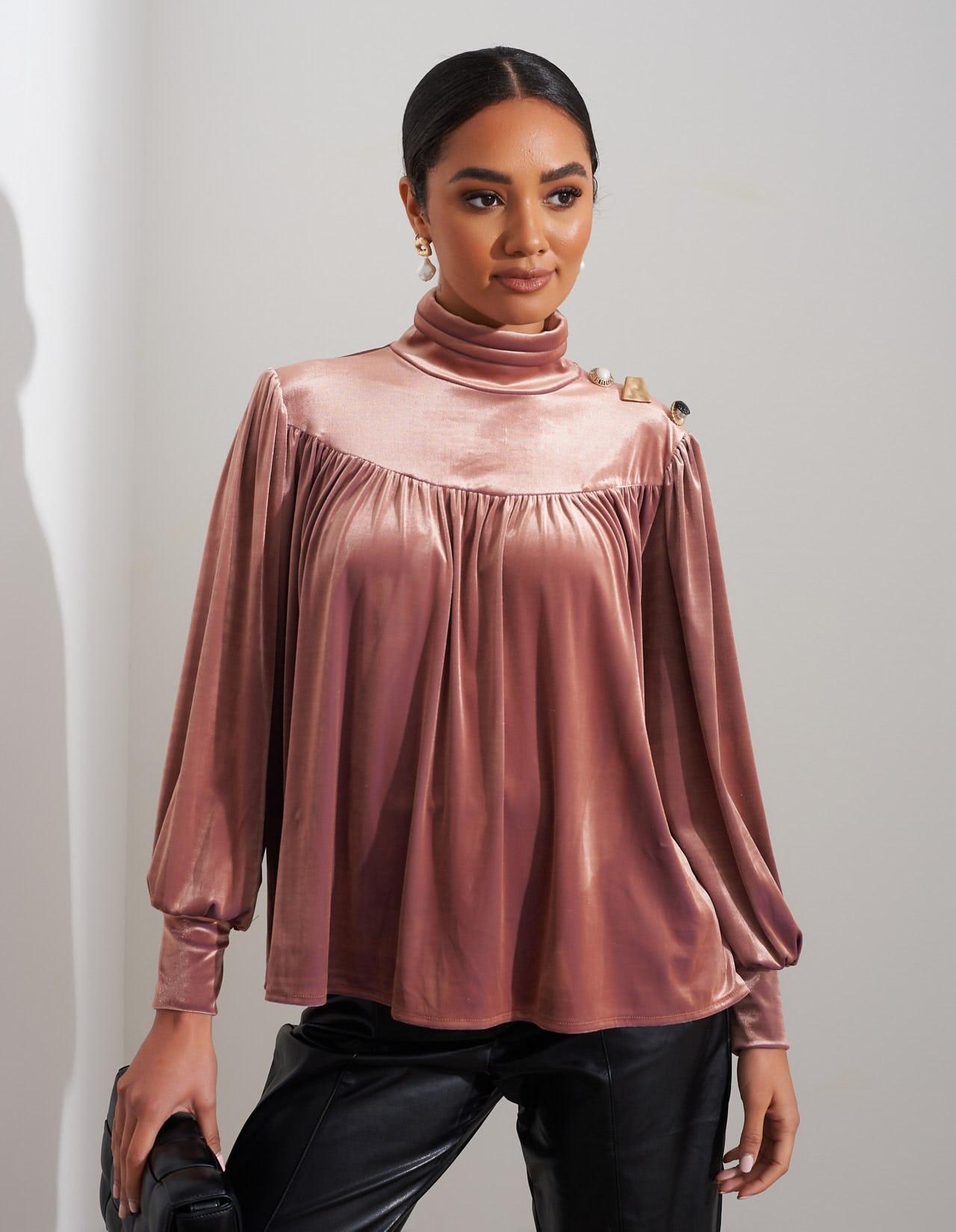 Dusty Pink Velvet High Neck Blouse Forever Unique