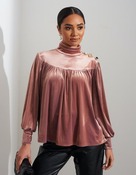 Dusty Pink Velvet High Neck Blouse
