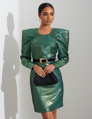 Metallic Green Snakeskin Midi Dress