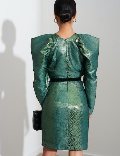 Metallic Green Snakeskin Midi Dress