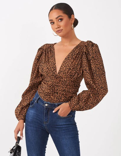Leopard Print Balloon Sleeve Top