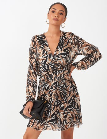 Animal Print Wrap Mini Dress