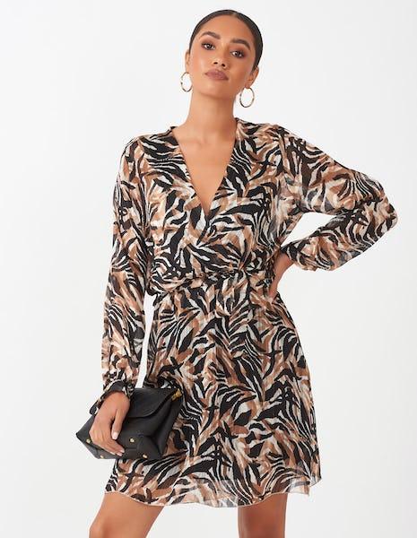 Animal Print Wrap Mini Dress