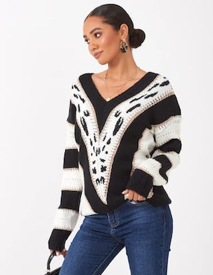 Black and White Jumper with Gold Lurex Detail