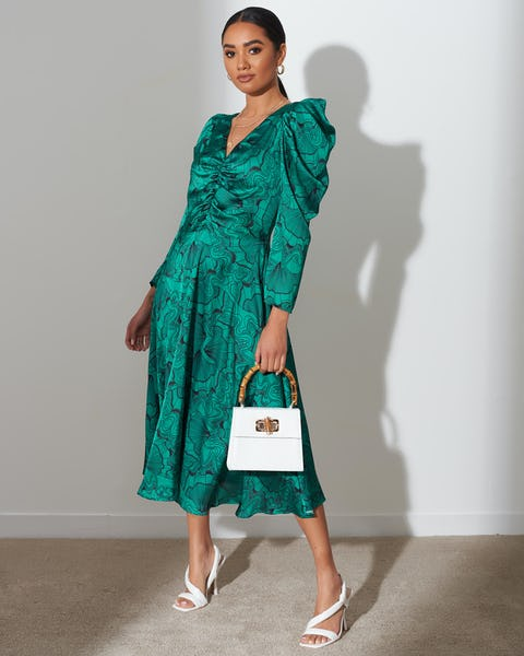 Green Shell Print Ruched Midi Dress