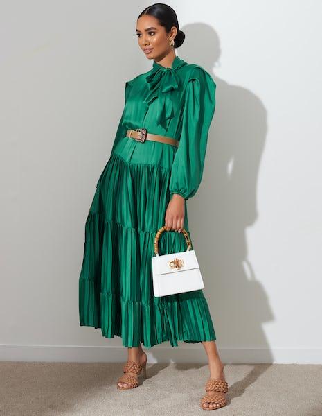 Green Pleated Tie Neck Midi Dress