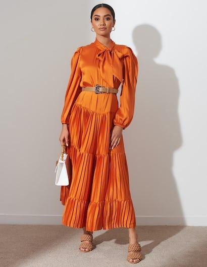 Orange Pleated Tie Neck Midi Dress