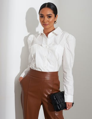 White Bodice Ruched Shoulder Shirt