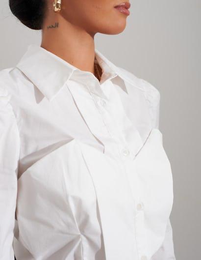White Bodice Ruched Shoulder Shirt