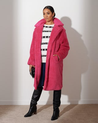 Fuschia Teddy Coat