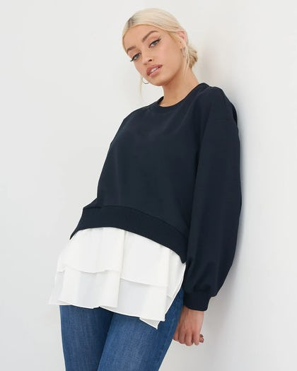 Navy And White Jumper with Shirt Hem