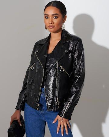 Black PU Biker Jacket
