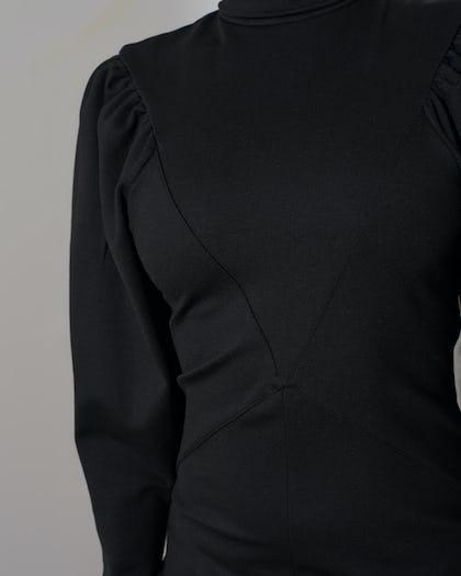 Black Roll Neck Jumper Dress