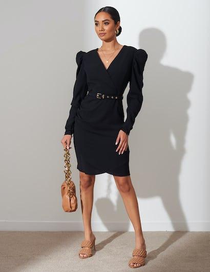 Black Belted Ruched Shoulder Midi Dress