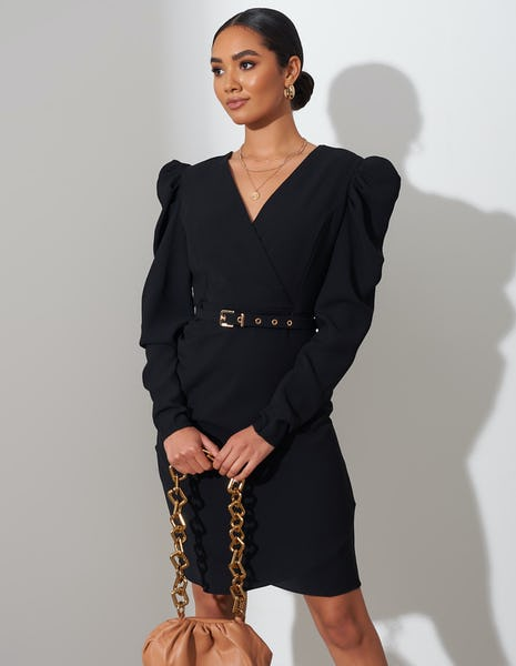 Black Belted Ruched Shoulder Midi Dress