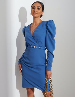 Indigo Blue Belted Ruched Shoulder Midi Dress