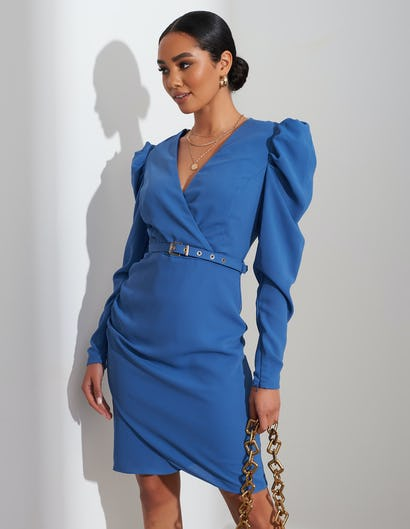 Indigo Blue Belted Ruched Shoulder Midi Dress