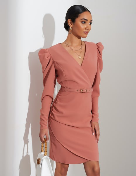 Tan Belted Ruched Shoulder Midi Dress