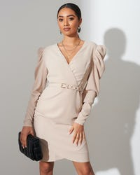 Nude Belted Ruched Shoulder Midi Dress