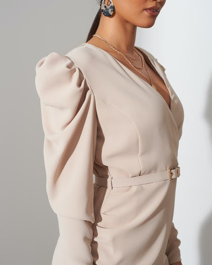 Wheat Belted Ruched Shoulder Midi Dress