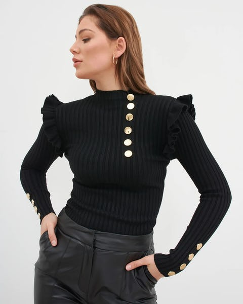 Black Knit Ribbed Jumper