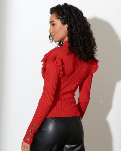 Red Ribbed Knit Jumper