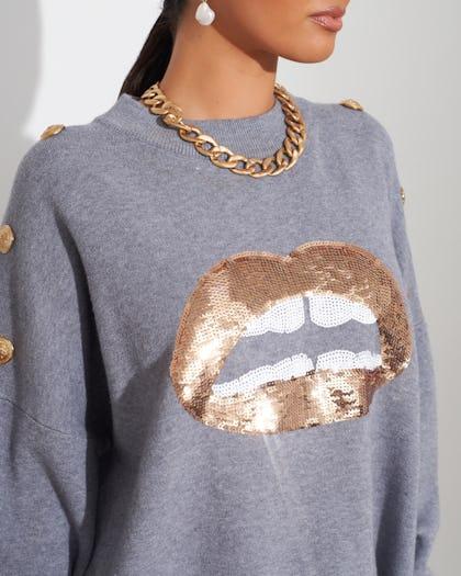 Grey Lips Jumper