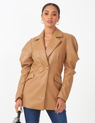 Tan Faux Leather Puff Sleeve Blazer