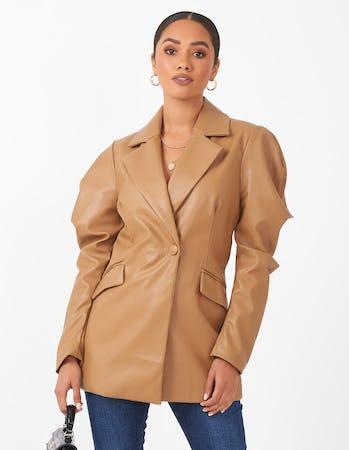 Tan Faux Leather Puff Sleeve Blazer