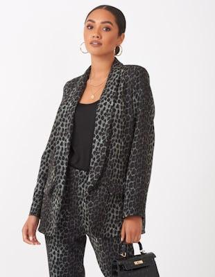 Khaki Leopard Print Blazer