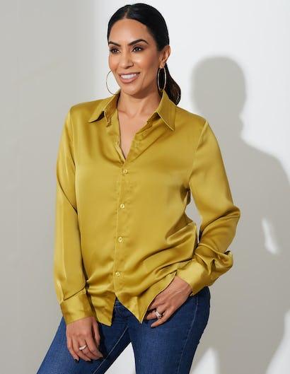 Lime Satin Button Up Shirt