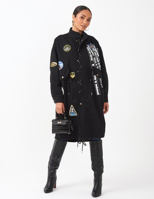 Black Slogan Trench Coat
