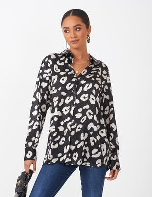 Black & Cream Leopard Print Blouse