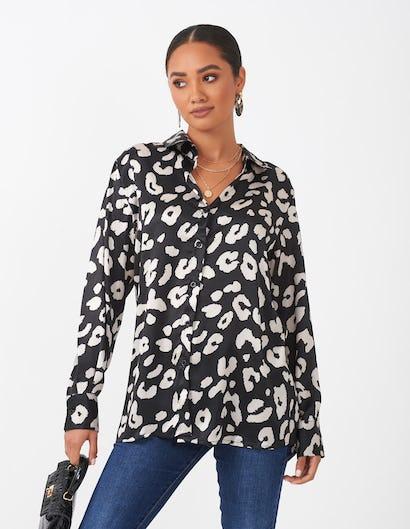 Black & Cream Leopard Print Blouse