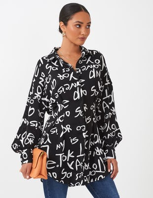 Monochrome Text Print Shirt