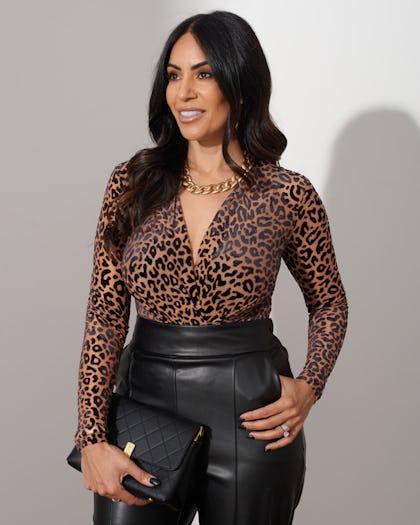 Brown Leopard Print Bodysuit