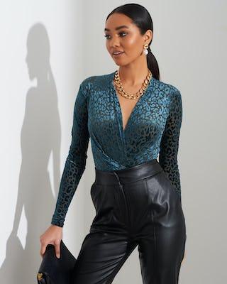 Teal Leopard Print Bodysuit