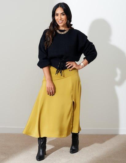 Lime Satin Split Midi Skirt
