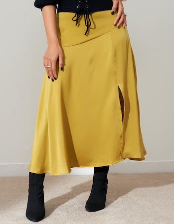 Lime Satin Split Midi Skirt